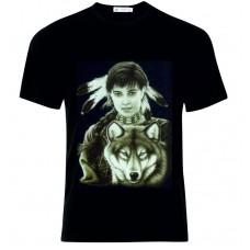 Μπλούζα T-Shirt Ινδιάνα Λύκος D4961